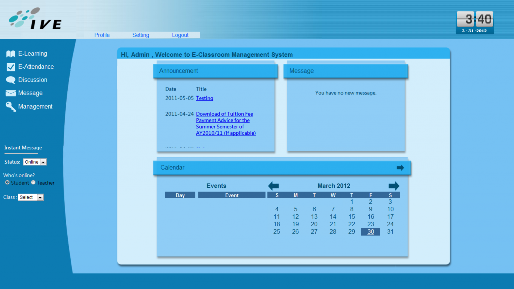 IVE Final Year Project - E-Classroom Management System